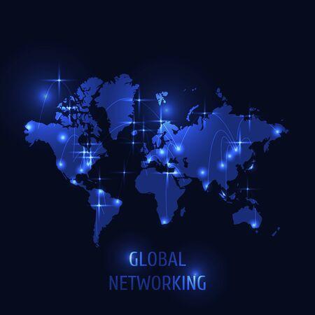 Global networking concept, world map on dark background. Illusztráció