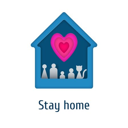 Stay home paper cut illustration