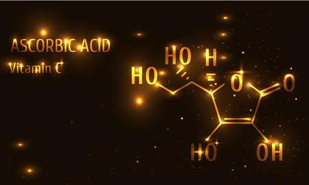 Vitamin C ascorbic acid vector illustration, luxury gold Illusztráció