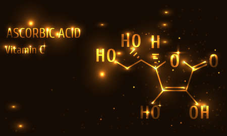 Vitamin C gold style illustration
