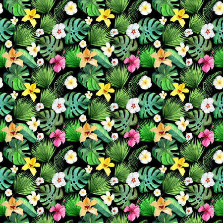 Tropical seamless pattern leaves on black background