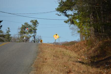 Road signs on rural road in Virginia