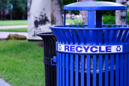 Metal Blue Recycling Bin in a Park