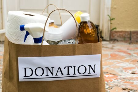 A donation bag containing food and cleaning supplies is delivered to a house during the coronavirus / covid-19 pandemic in Sint Maarten, Caribbean