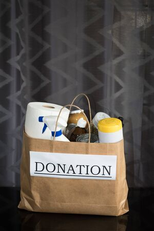 Donation bag with food and cleaning supplies ready to be delivered during the Covid-19 / Coronavirus Pandemic 写真素材