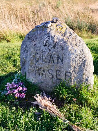 Clan Fraser headstone at Culloden near Inverness in the Scottish Highlands 写真素材