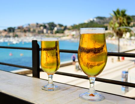 Happy hour with ice cold beers on a sunny day