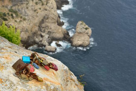 The 'Locks of Love' on the cliffs at Cap de Formentor, Majorca