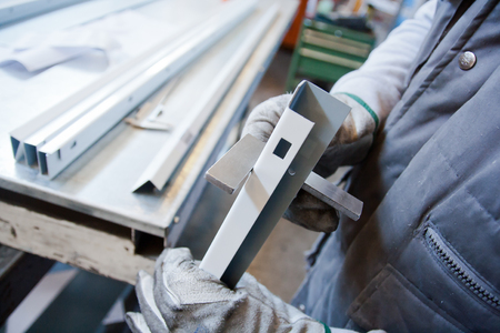 handtools: operators with square rulers Stock Photo