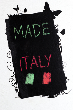 handwrite: Made in Italy handwrite on blackboard Stock Photo