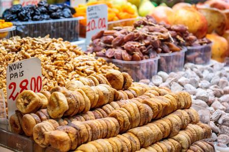 close uo: Close uo of assorted dried fruits at La Boqueria market