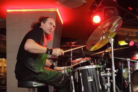 ethno: MOSCOW, RUSSIA - DECEMBER 15: Dmitry Sinelnikov plays concert in Gorbushkin Dvor concert hall on December 15, 2012 in Moscow. Dmitry Sinelnikov is drummer of Rada & Ternovnik russian rock band.