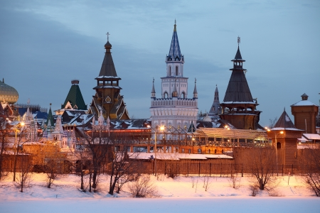 Izmaylovo kremlin in Moscow   Winter evening