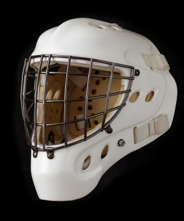 Ice hockey goalie mask  Isolated on black  photo