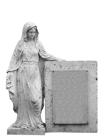Female statue as tombstone   Isolated on white