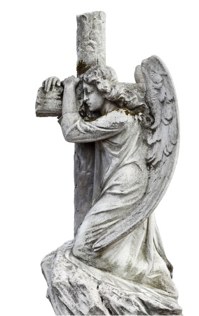 Angel grieving   Stone sepulchral statue   Isolated on white  Stock Photo
