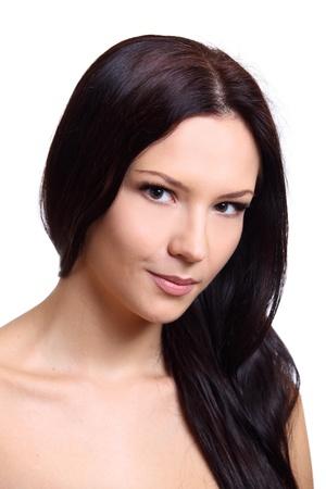 Beautiful brunette twenty years' girl. Close-up portrait. Isolated on white. Stock Photo - 19943728