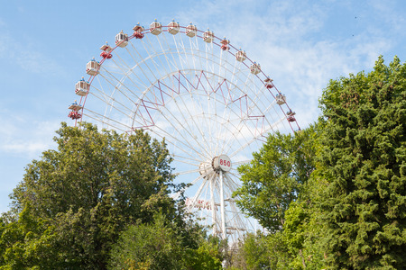 4 wheel: MOSCOW - AUGUST 4: Ferris wheel at the amusement park on the territory of All-Russian Exhibition Center  on August 4, 2014 in Moscow. Editorial