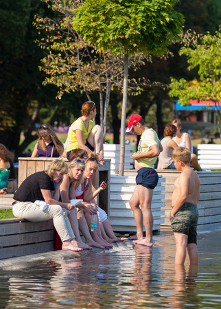 gorky: Mosca -July 31: People standing on the shore of a pond in Gorky Park on July 31, 2014 in Moscow. Editorial
