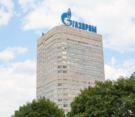 extractor: MOSCOW - AUGUST 4: Gazprom company building in Vernadsky Prospekt  on August 4, 2014 in Moscow. Gazprom is the largest extractor of natural gas in the world. Editorial