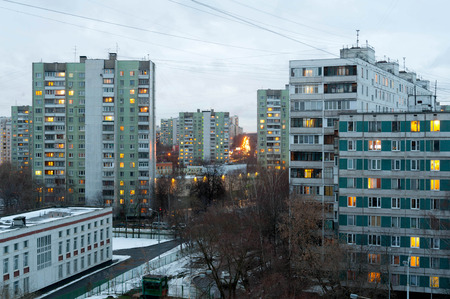 administrative buildings: MOSCOW - JANUARY 03: Residential buildings in Bibirevo district in the evening on January 3, 2015 in Moscow. Bibirevo District is an administrative district (raion) of North-Eastern Administrative Okrug, and one of the 125 raions of Moscow, Russia. Editorial