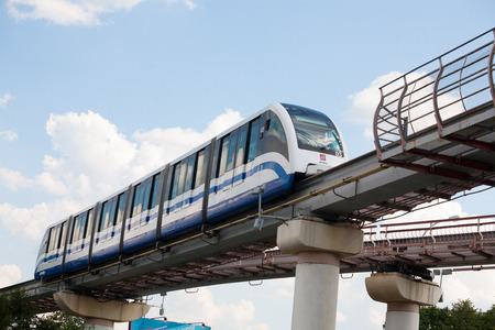 monorail: MOSCOW - AUGUST 20: Monorail train in Ostankino district on August 20, 2014 in Moscow. Ostankino is administrative district of North-Eastern part of Moscow.