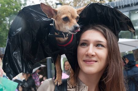 MOSCOW, RUSSIA - SEPTEMBER 16, 2018: Toy Terrier dog dressed in bat mouse costume sitting on young beautiful girls shoulder in Krasnogvardeiskie Ponds park on autumn rainy day. Editöryel