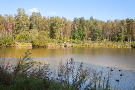 MOSCOW - SEPTEMBER 20, 2018: Pond shore, ducks, people and forest in Losiny Ostrov (Elk Island) National Park on sunny autumn day. Losiny Ostrov is first national park of Russia.