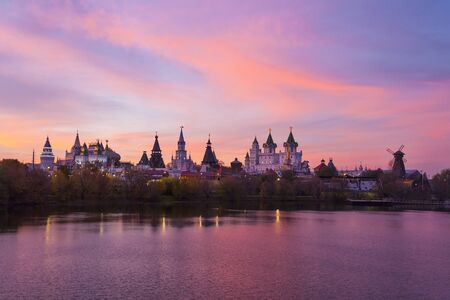 MOSCOW, RUSSIA - OCTOBER 14, 2018: Sunset over Kremlin in Izmailovo. Kremlin is cultural, commercial and entertainment complex built in years 1998-2007.