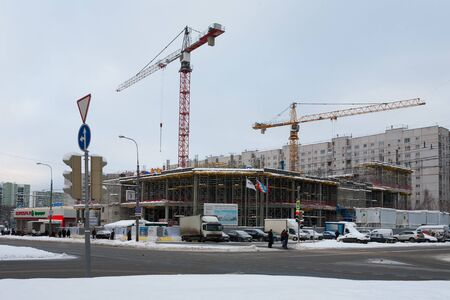 MOSCOW, RUSSIA - DECEMBER 6, 2019: Reconstruction of Budapest cinema building in Leskova street on winter day. Leskov Street is located in the Bibirevo district in the north of Moscow.
