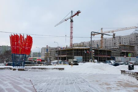 MOSCOW, RUSSIA - DECEMBER 6, 2019: Reconstruction of the Budapest cinema building in Leskova street on a winter day. Leskov Street is located in Bibirevo district in the north of Moscow. Editöryel