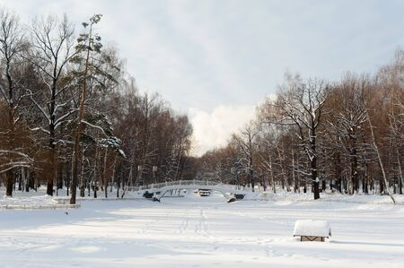 MOSCOW, RUSSIA - JANUARY 09, 2019: Pond covered with snow and trees in Lianozovo park in Cherepovetskaya street on sunny winter day. Cherepovetskaya street is located in North of Moscow.