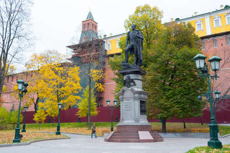 Moscow, Russia - October 14, 2019: Monument to Alexander I in Alexander Garden and Moscow Kremlin in autumn. Alexander I was Russian Tsar. Editöryel
