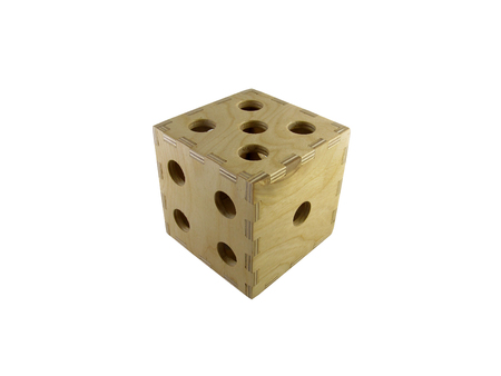 big wooden dice playing cube on a white background Imagens