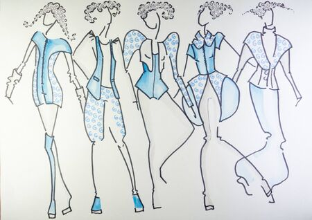 the drawing of clothes colored pencils on paper. fashionable clothes, sketches on paper.