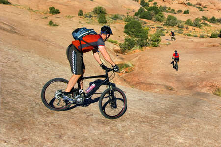 Mountain bikers tackle challenging conditions near Moab, Utah