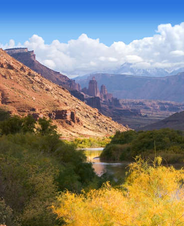 Scenic Colorado River meanders past Fisher Towers in Utah Stock Photo - 292753