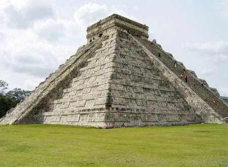 sightsee: Massive stone pyramid at Chichen Itza, Mexico