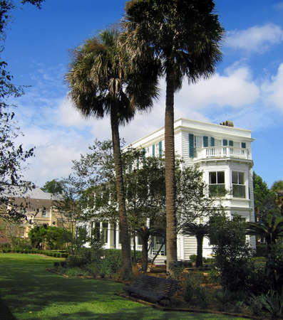 The beautifully groomed gorunds of the Major James Ladson house on Meeting Street in Charleston; built 1792