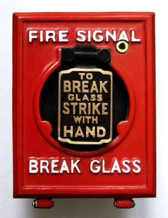 requirement: Vintage fire alarm panic button Stock Photo