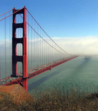 Afternoon fog obscures one tower of the Golden Gate Bridge Reklamní fotografie