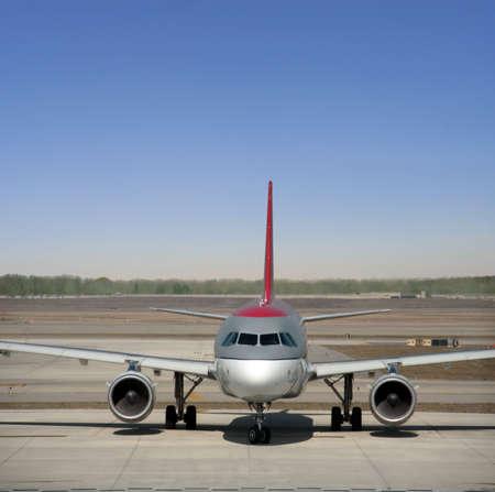 Large jetliner prepares for takeoff