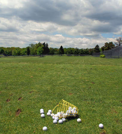 Golfballs ready for driving practice