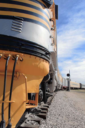 Close view of a giant locomotive that once ruled the rails