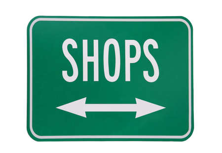 Shops sign isloated on white background
