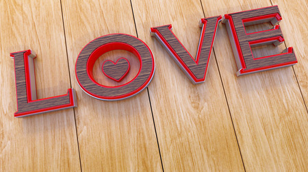 3D rendering of Happy valentines day and weeding design elements. 3D love text on a wooden background Stock Photo