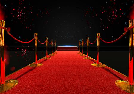 larga alfombra roja entre barreras de cuerda con escalera al final Foto de archivo