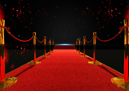 long red carpet between rope barriers with stair at the end
