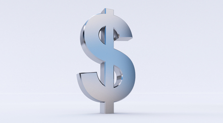 3d rendering of Dollar sign isolated on white background.