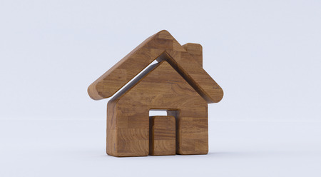 3D rendering of a wooden Home Icon on a white isolated background.